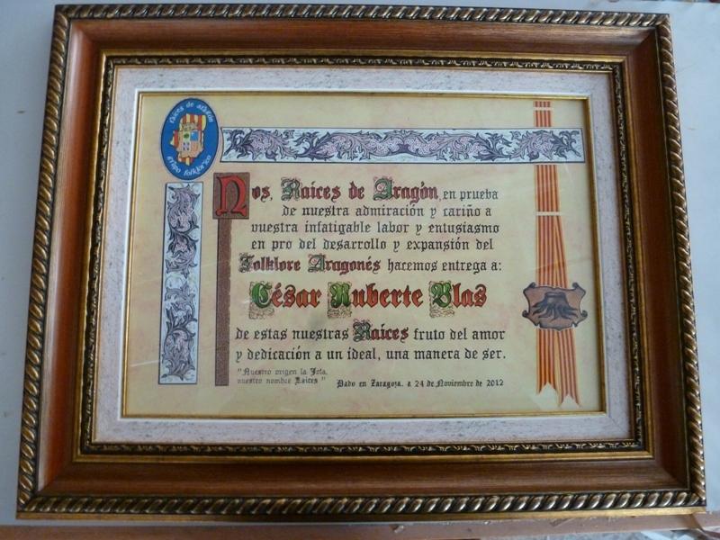 Diploma de Honor de Raíces de Aragón