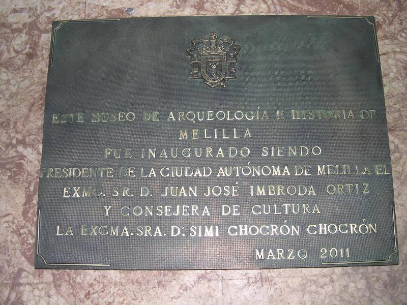 Placa museo de Arqueología e Historia de Melilla